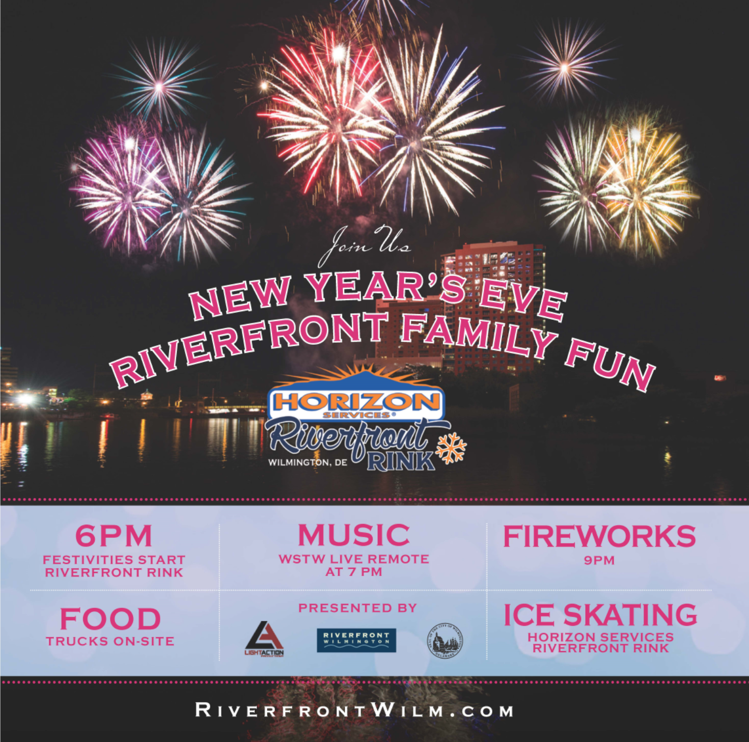 2nd Annual New Year's Eve Riverfront Family Fun at the Riverfront in Wilmington