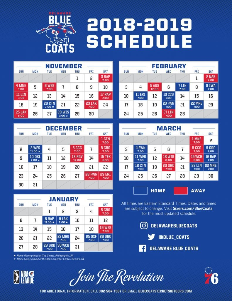 Blue Coats 2019 Schedule