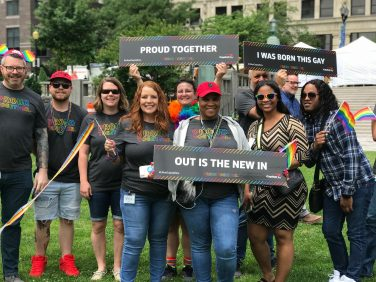 people celebrating pride month in Wilmington.