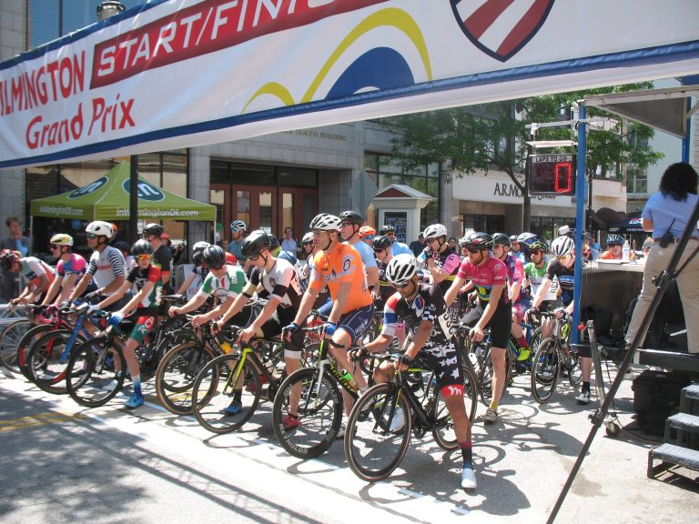 Cyclist at the start line.