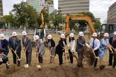 Mayor Mike Purzycki joins Governor John Carney, other elected officials and members of the Rodney Square Conservancy at today's ground breaking ceremony in Rodney Square.