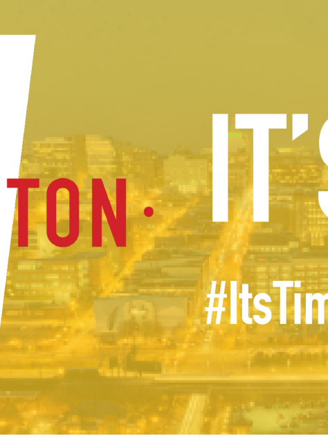 it's time wilmington logo overlay on image of city